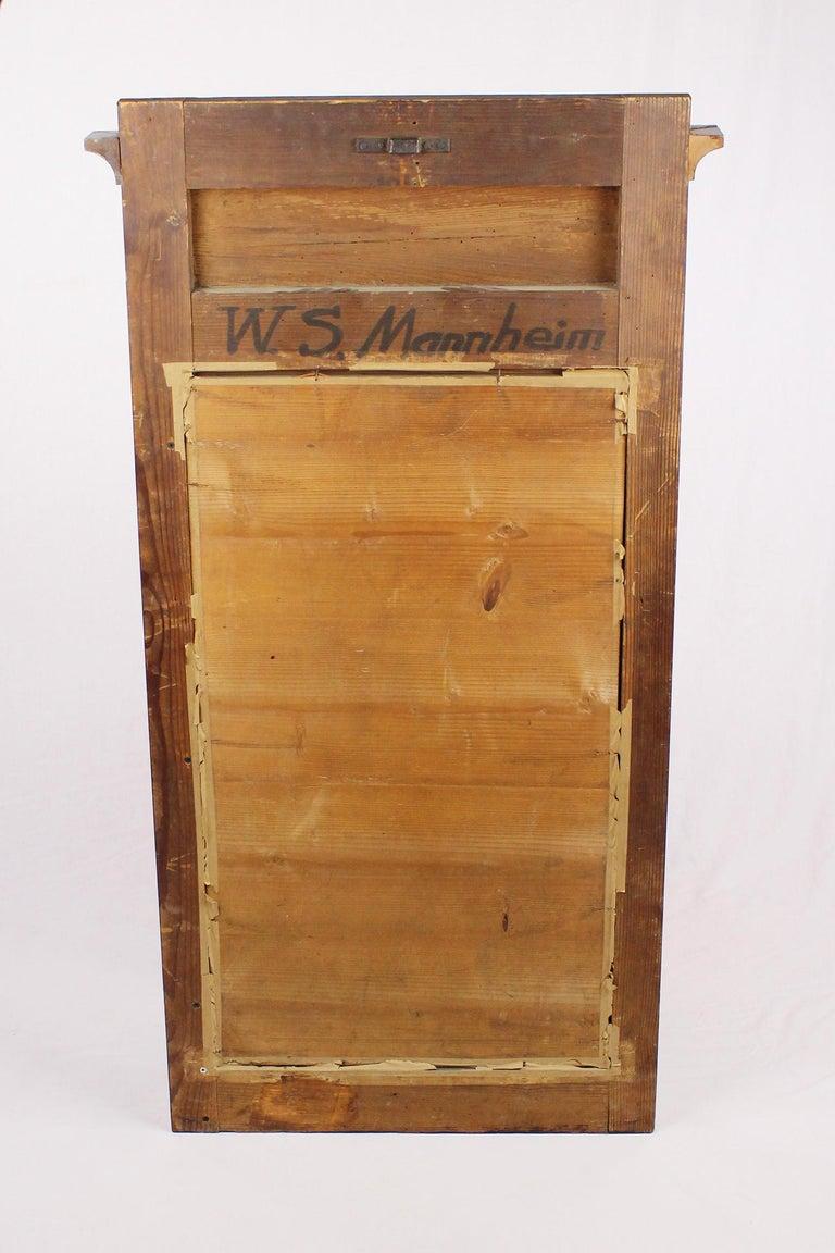 Early 19th Century 19th Century Biedermeier Period Pillar Mirror, Germany, circa 1820 Nutwood Brown For Sale