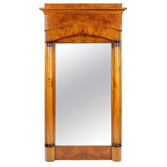 19th Century Biedermeier Period Pillar Mirror, Germany, circa 1820 Nutwood Brown