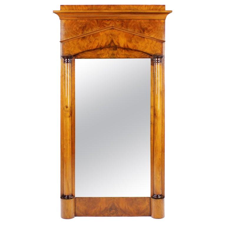19th Century Biedermeier Period Pillar Mirror, Germany, circa 1820 Nutwood Brown For Sale
