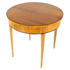 19th Century Biedermeier Period Round Salon Side Table, Cherrywood Veneer, Brown