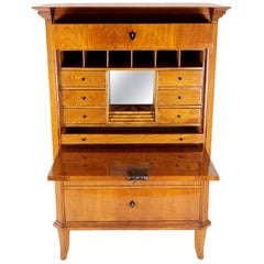 19th Century Biedermeier Period Secretary circa 1820-1830 Cherrywood Honey Brown