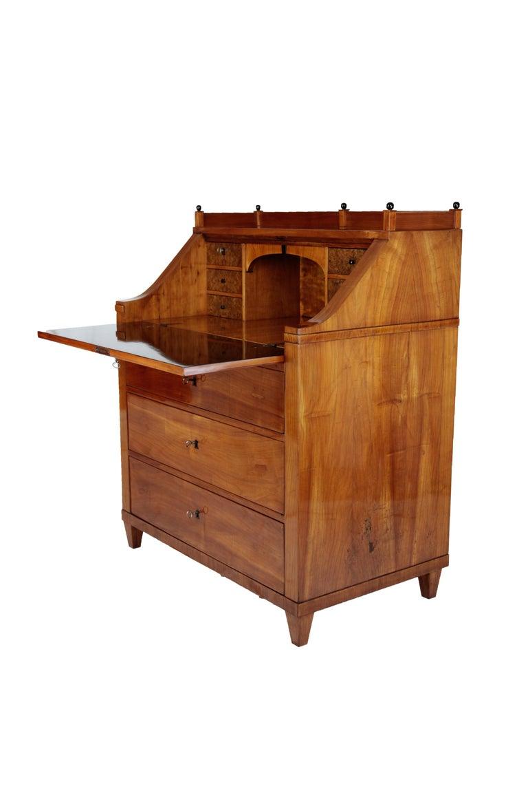 19th Century Biedermeier Period Secretary, circa 1830, Cherrywood, Honeybrown In Good Condition For Sale In Muenster, NRW