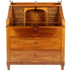 19th Century Biedermeier Period Secretary, circa 1830, Cherrywood, Honeybrown