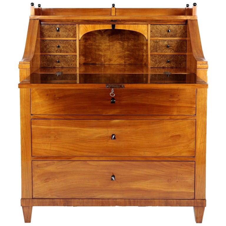 19th Century Biedermeier Period Secretary, circa 1830, Cherrywood, Honeybrown For Sale