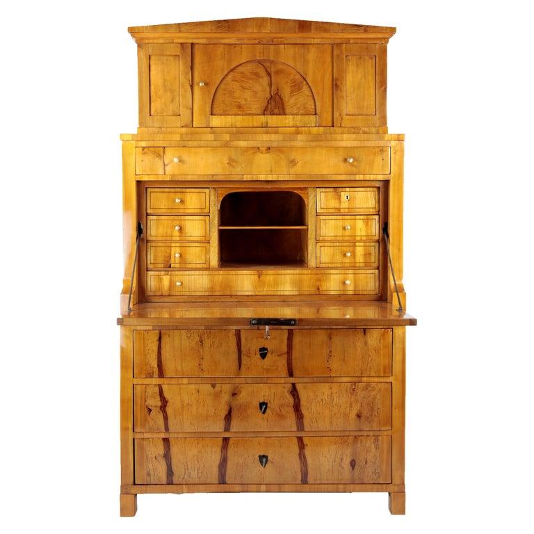 19th Century Biedermeier Period Secretary Germany 1820-1930 Apple and Cherrywood For Sale