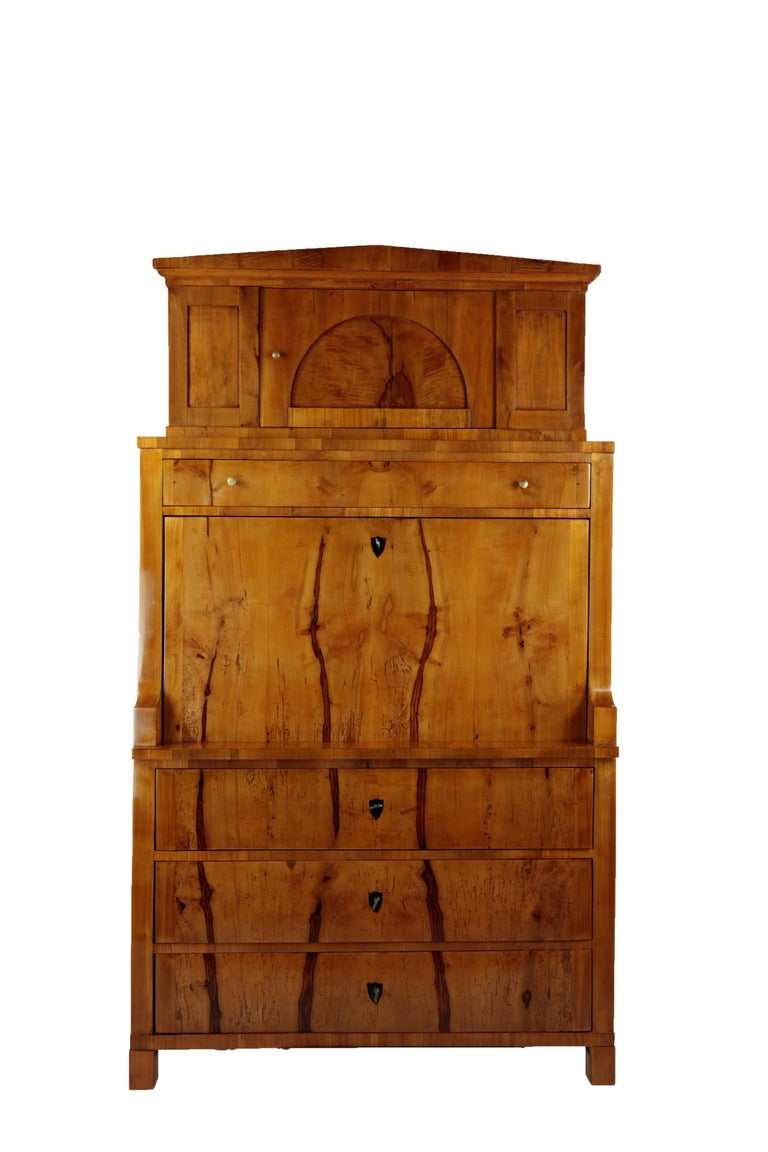 • Germany, circa 1820-1930 • Cherrywood and Appletreewood veneer • Decorative inner life with small drawers • Three large drawers in the bottom and one on top • Restored residential-ready state. • Shellac polish.   I dispatch by air in safe