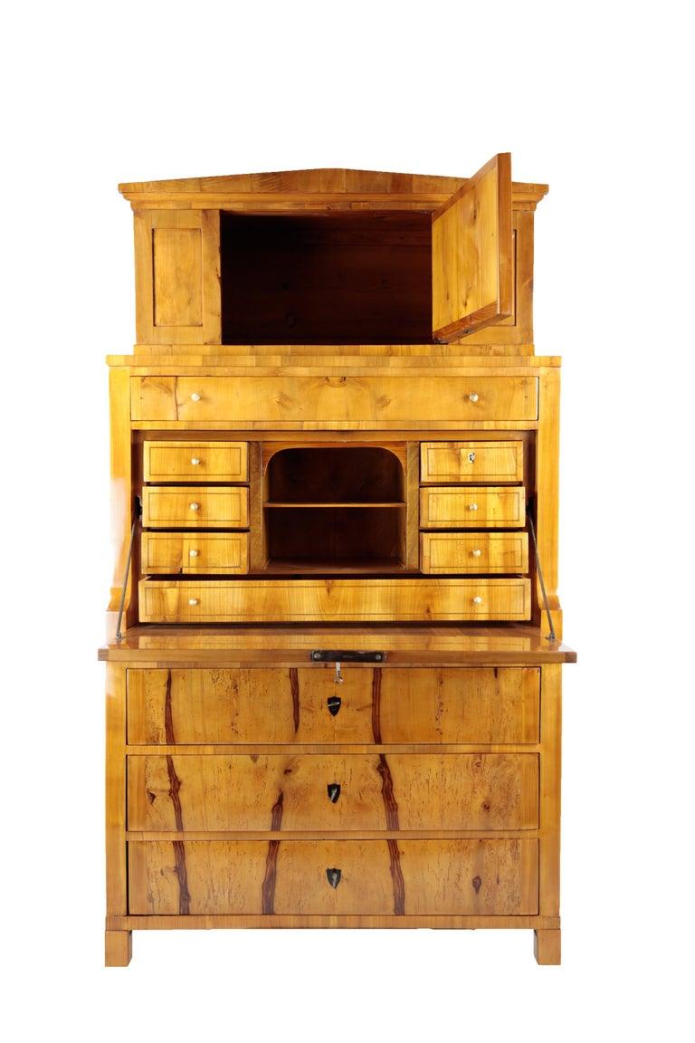Veneer 19th Century Biedermeier Period Secretary Germany 1820-1930 Apple and Cherrywood For Sale