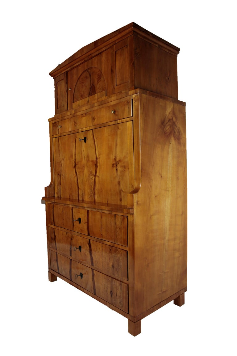 19th Century Biedermeier Period Secretary Germany 1820-1930 Apple and Cherrywood In Good Condition For Sale In Muenster, NRW
