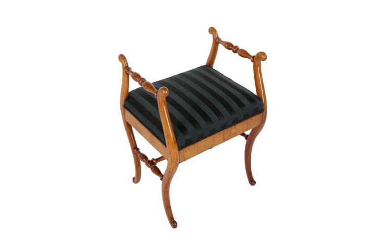 German 19th Century Biedermeier Period Upholstered Stool, Cherrywood, circa 1820-1830 For Sale