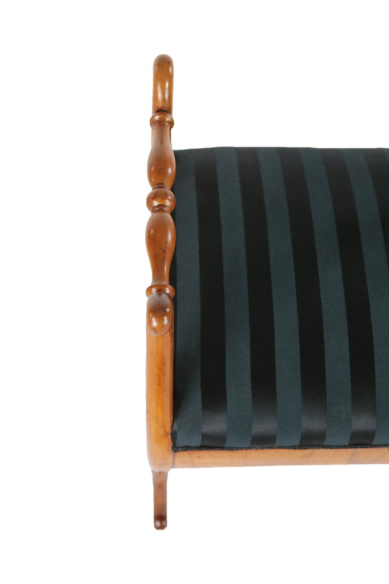 Early 19th Century 19th Century Biedermeier Period Upholstered Stool, Cherrywood, circa 1820-1830 For Sale