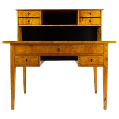 19th Century Biedermeier Period Writing Desk Secretary Birch, 1820-1930, Germany