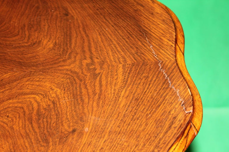 Antique work table, Biedermeier in rosewood, flower shape, interior in elm root, bronze snap-hook holder. Good condition.