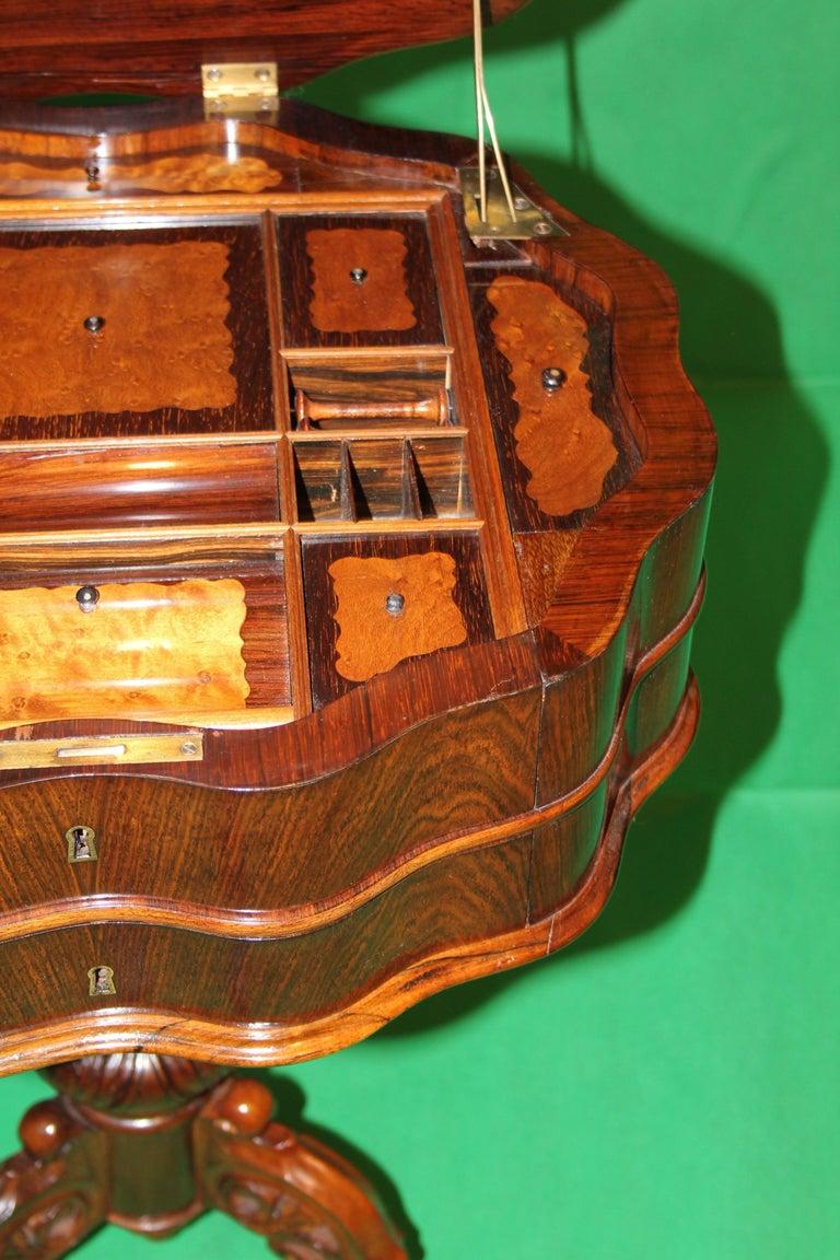 19th Century Biedermeier Rosewood Work Table For Sale 1