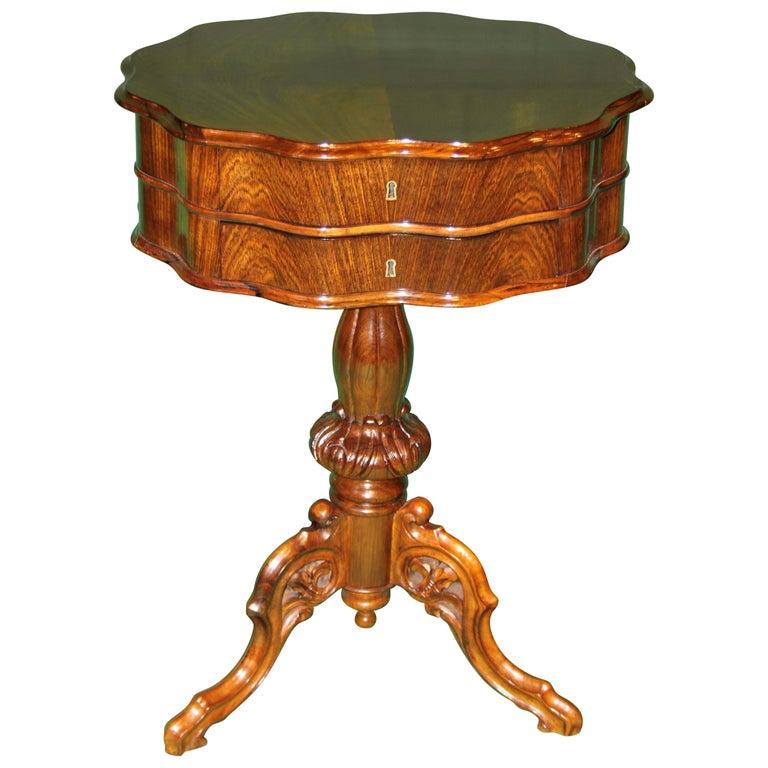 19th Century Biedermeier Rosewood Work Table For Sale