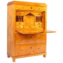 19th Century Biedermeier Secretaire, Writing Cabinet, Birch, Germany, circa 1825