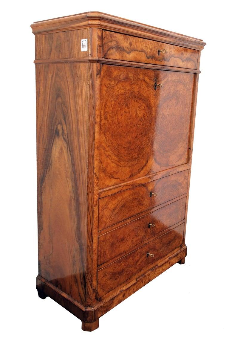 German 19th Century Biedermeier Secretary Walnut For Sale