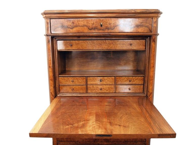 19th Century Biedermeier Secretary Walnut In Good Condition For Sale In Darmstadt, DE
