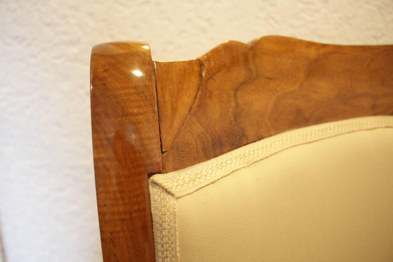 Polished 19th Century Biedermeier Set of Four Walnut Armchairs For Sale