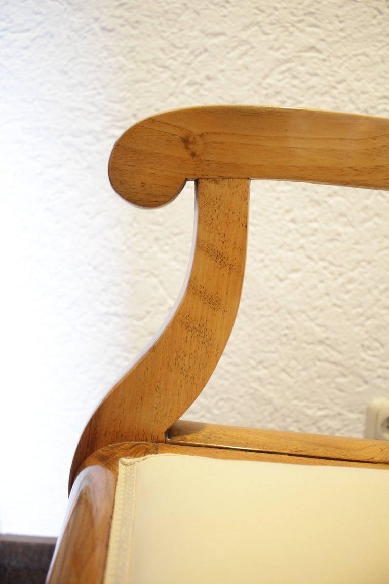 19th Century Biedermeier Set of Four Walnut Armchairs For Sale 2