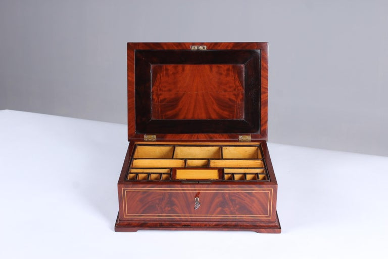 German 19th Century Biedermeier Sewing or Jewelry Box, Mahogany with Maple Inlays For Sale