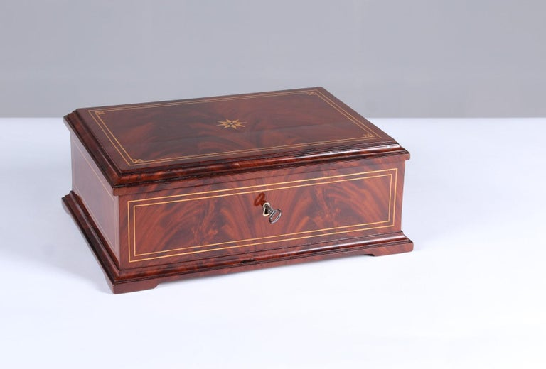 Early 19th Century 19th Century Biedermeier Sewing or Jewelry Box, Mahogany with Maple Inlays For Sale