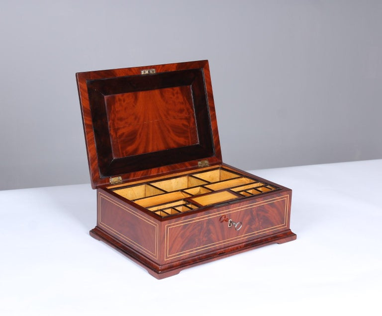 19th Century Biedermeier Sewing or Jewelry Box, Mahogany with Maple Inlays For Sale 1