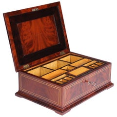 19th Century Biedermeier Sewing or Jewelry Box, Mahogany with Maple Inlays