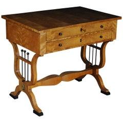 19th Century Biedermeier Side Table / Table, Flamed Birch
