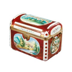 19th Century Biedermeier Souvenir Box in Bohemian Red Overlay Glass