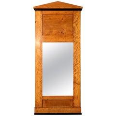 19th Century Biedermeier Style Mirror in Birch Wood