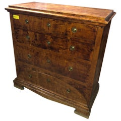 19th Century Biedermeier Sweden Birch Chest of Drawers Secretaire, 1830s
