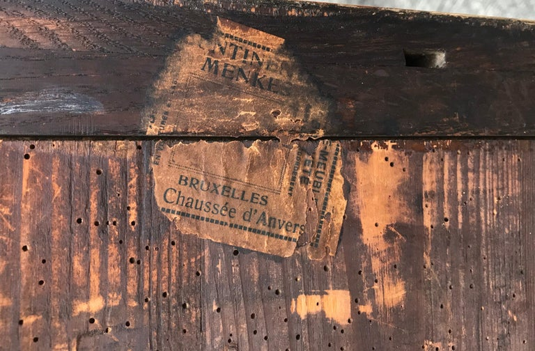 19th Century Biedermeier Two-Drawer Dresser, Key Drawer Pulls, Tapered Legs For Sale 5