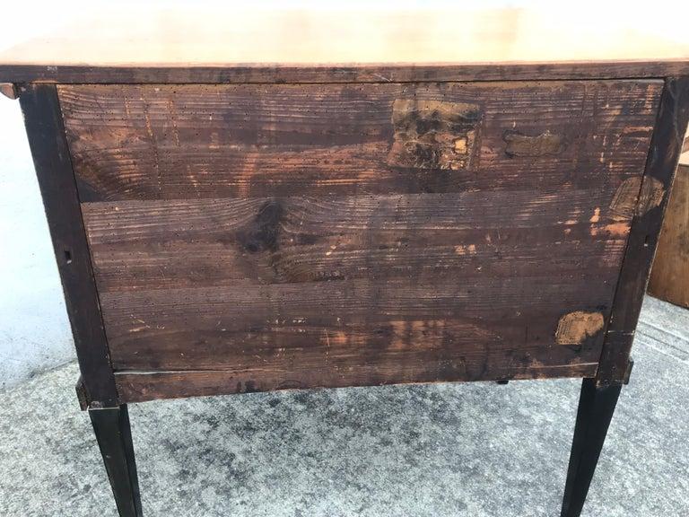 19th Century Biedermeier Two-Drawer Dresser, Key Drawer Pulls, Tapered Legs For Sale 6