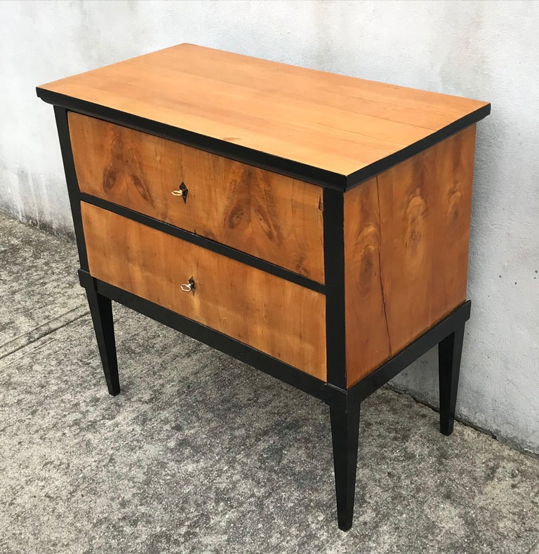 German 19th Century Biedermeier Two-Drawer Dresser, Key Drawer Pulls, Tapered Legs For Sale