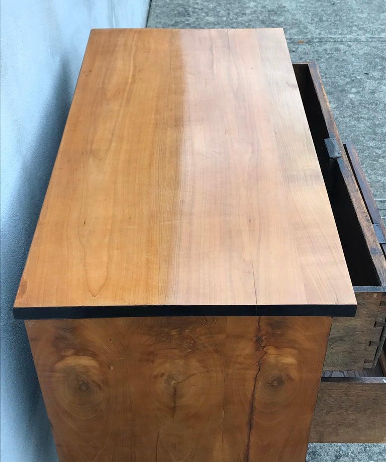 19th Century Biedermeier Two-Drawer Dresser, Key Drawer Pulls, Tapered Legs For Sale 3