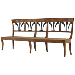 19th Century Biedermeier Walnut and Rush Seat Bench