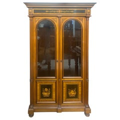 19th Century Biedermeier Walnut Inlay Cabinet, 1840s
