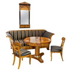 19th Century Biedermeier Walnut Room Set: Mirror, Sofa, 2 Chairs, Table