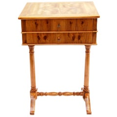 19th Century Biedermeier Walnut Sewing Table from Germany