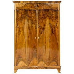 19th Century Biedermeier Walnut Vertiko or Cabinet