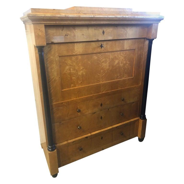19th Century Biedermeier Wood Birch Secretaire, 1830 For Sale