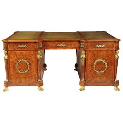 19th Century Birch and Morocco Leather Pedestal Desk in the French Empire Manner