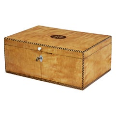 19th Century Birch Sewing Box with Stringing