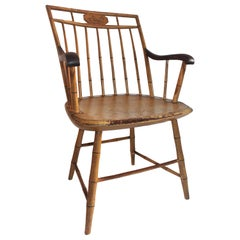19th Century Bird Cage Windsor Armchair Original Mustard Painted Surface