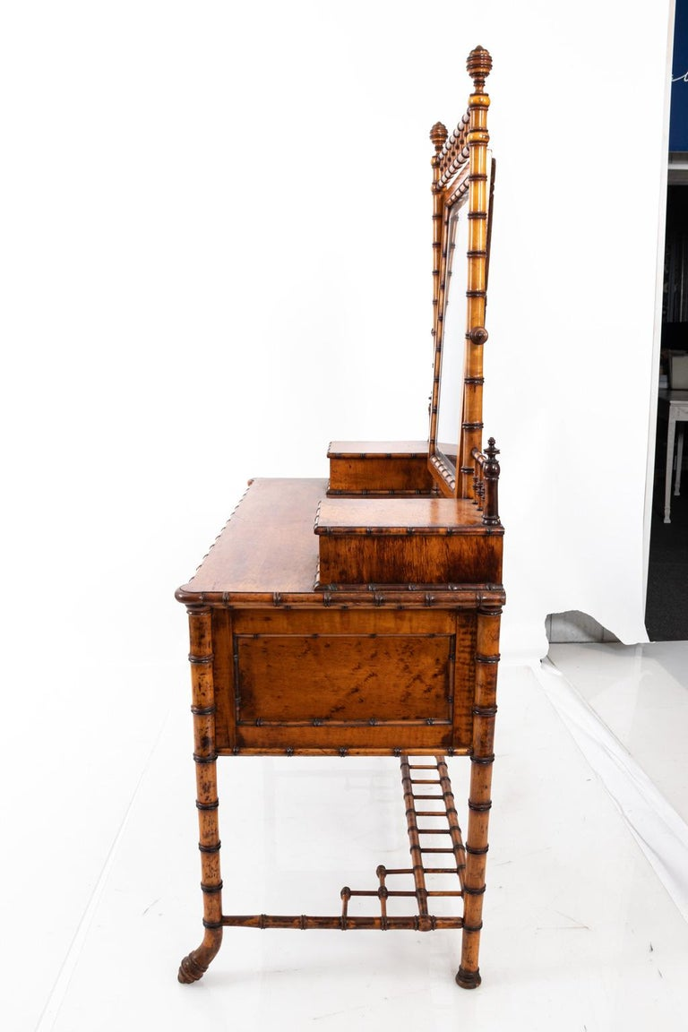 19th Century Bird's-Eye Maple Faux Bamboo Dressing Table by R. J. Horner 3