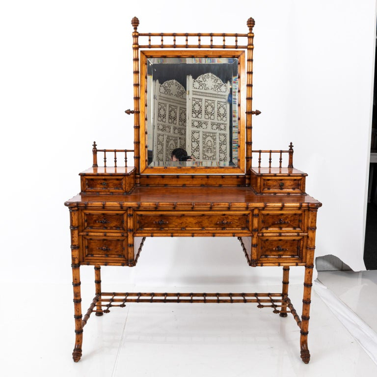 19th Century Bird's-Eye Maple Faux Bamboo Dressing Table by R. J. Horner 4