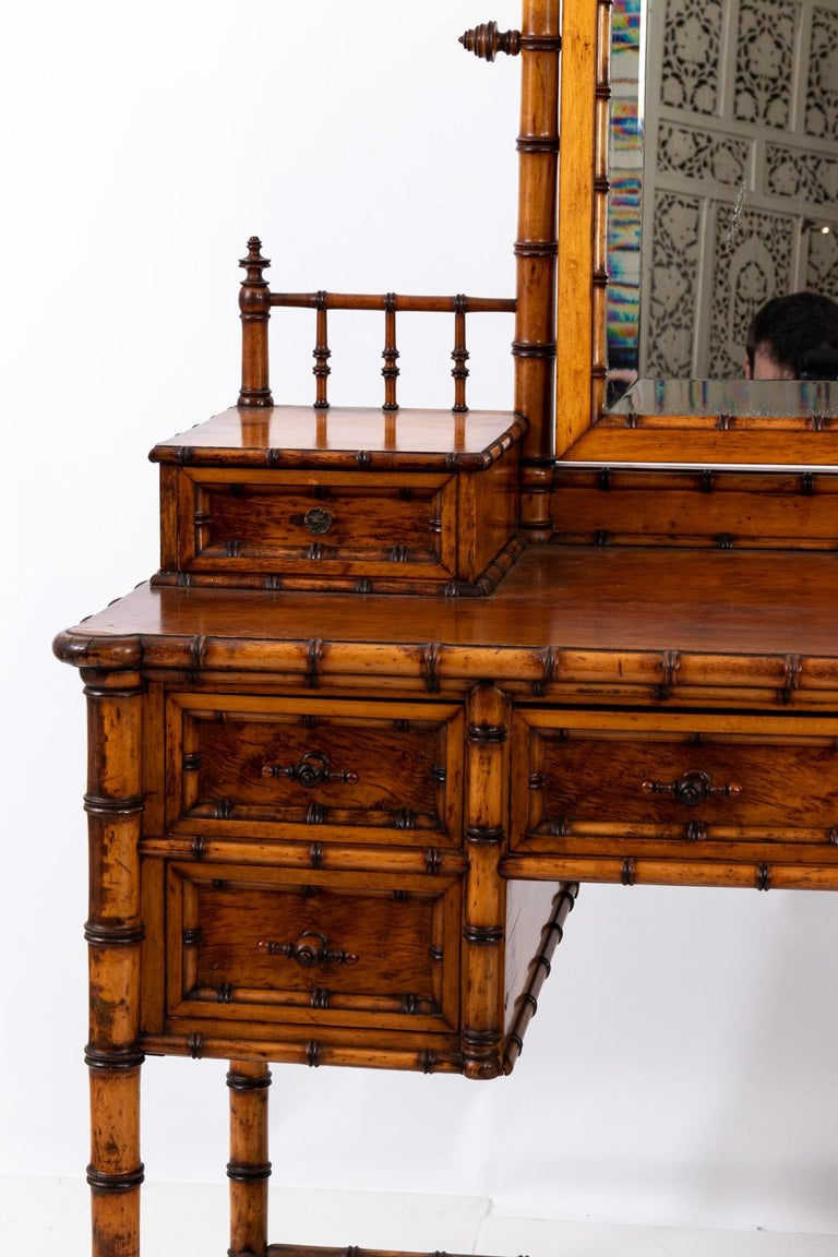 19th Century Bird's-Eye Maple Faux Bamboo Dressing Table by R. J. Horner 5