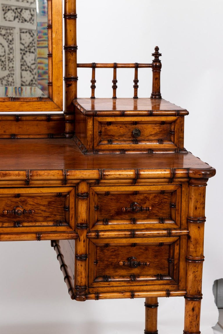 19th Century Bird's-Eye Maple Faux Bamboo Dressing Table by R. J. Horner 6