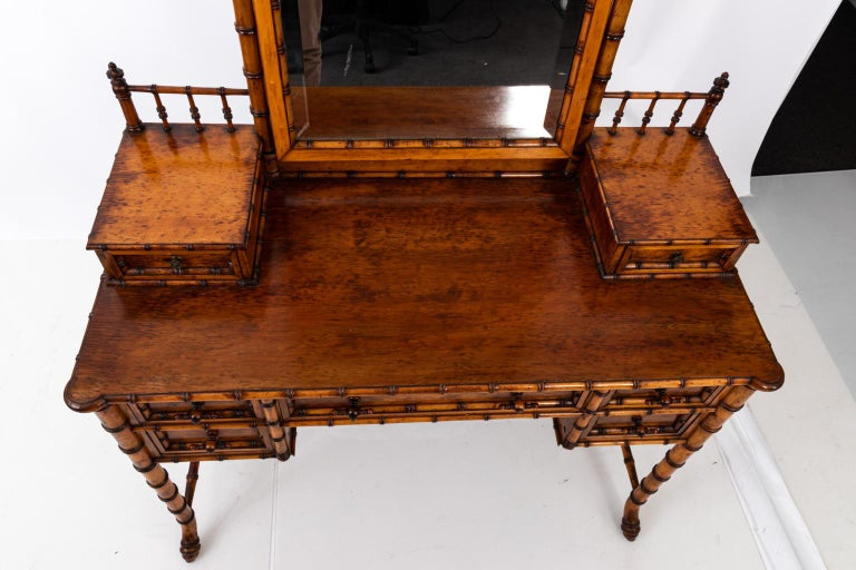 19th Century Bird's-Eye Maple Faux Bamboo Dressing Table by R. J. Horner 10