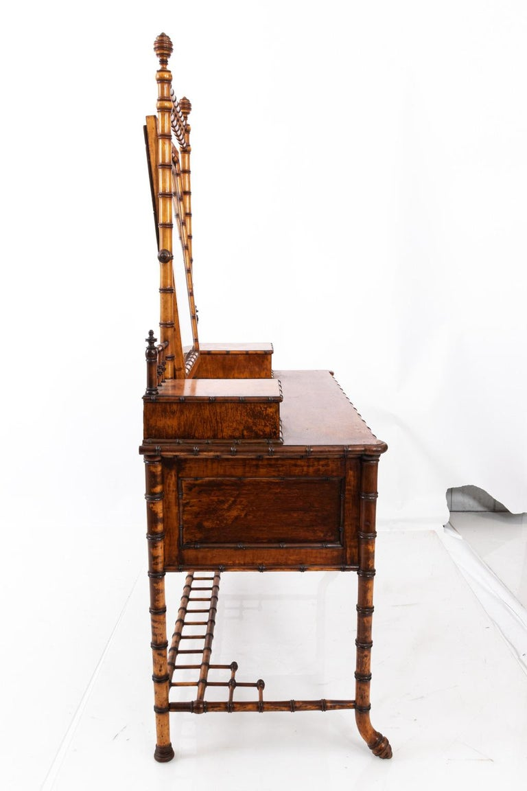 Aesthetic Movement 19th Century Bird's-Eye Maple Faux Bamboo Dressing Table by R. J. Horner